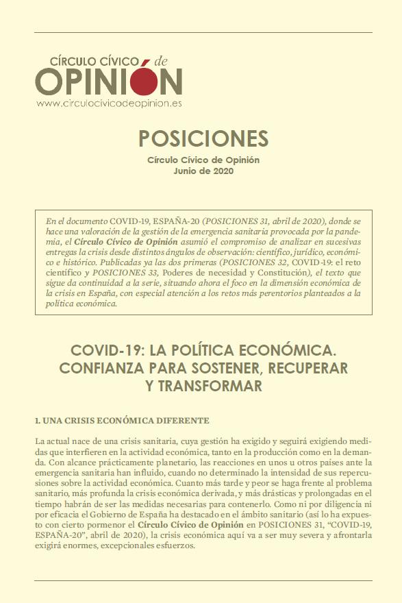 Posiciones 34. COVID-19: La política económica. Confianza para sostener, recuperar y transformar.